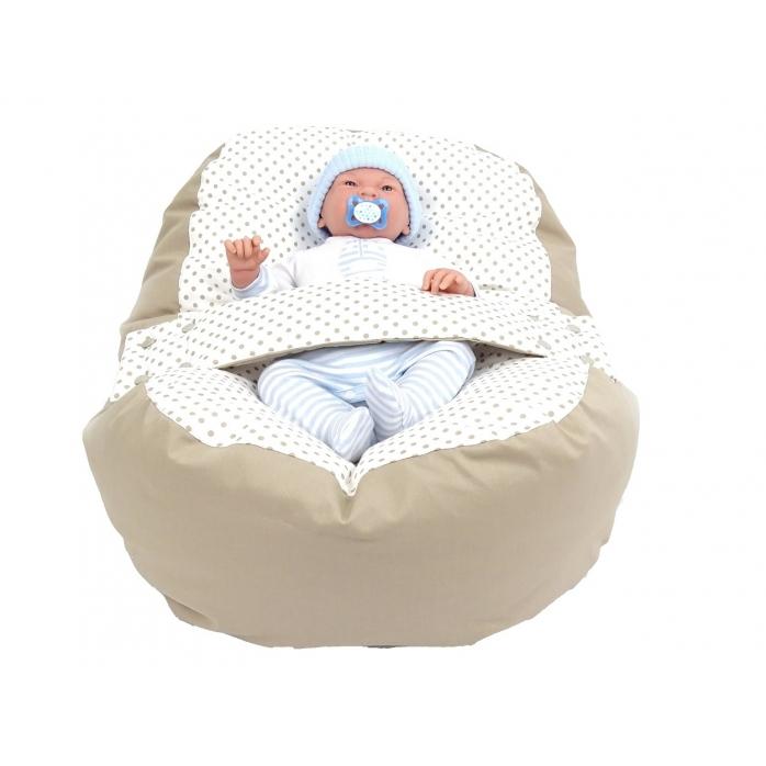 Relaxačný vak BODKA béžová 100% bavlna 1