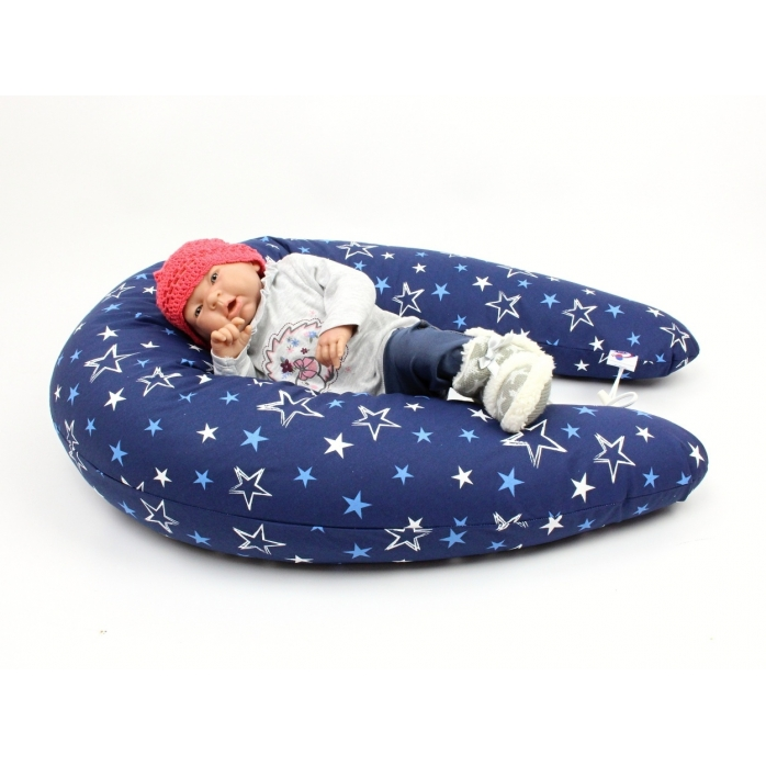 Dojčiaci vankúš Maxi hviezdy modré 100% bavlna