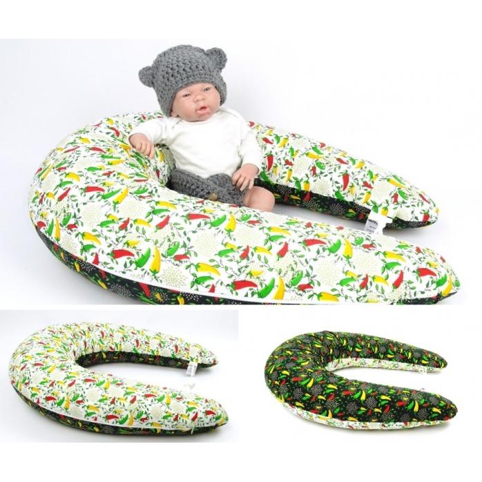 Dojčiace vankúš MAXI 205 cm + snímateľný poťah, vzor PAPRIČKY 100% bavlna