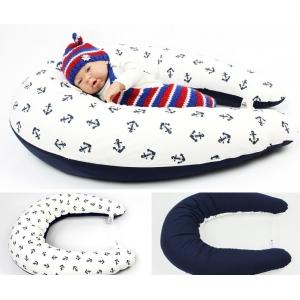 Dojčiaci vankúš MAXI 205 cm + snímateľný poťah, vzor KOTVY, 100% bavlna