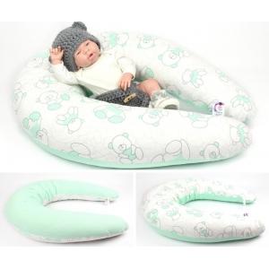 Dojčiaci vankúš Maxi MACKO ZELENÝ 100% bavlna