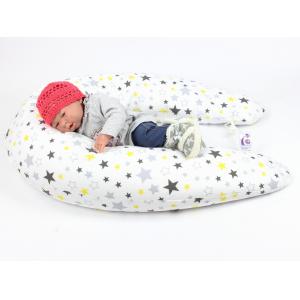 Dojčiaci vankúš Maxi HVIEZDY ŽLTÉ 100% bavlna 205cm 1