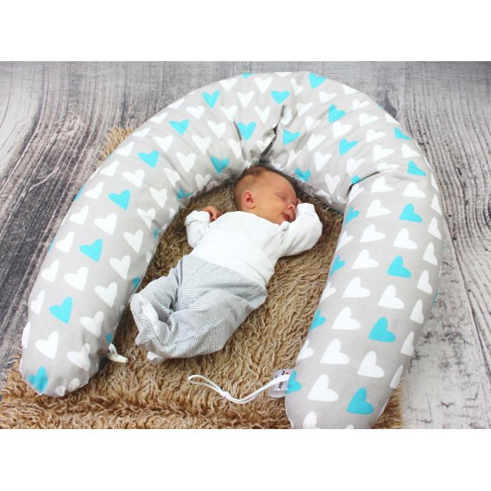Dojčiaci vankúš Maxi SRDCE MODRÉ 100% bavlna 205cm 1