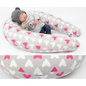 Dojčiaci vankúš Maxi SRDCE RŮŽOVÉ 100% bavlna 205cm
