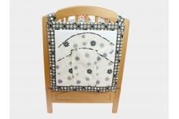 Vreckár na postieľku LÚKA ČERNOBIELA 100% bavlna, päť veľkých vreciek